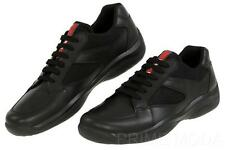 NEW PRADA AMERICA'S CUP BLACK LEATHER CANVAS LOGO CASUAL SNEAKERS SHOES 8/US 9