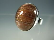 CAT'S EYE RUTILATED QUARTZ CAB IN STERLING SILVER RING LY618