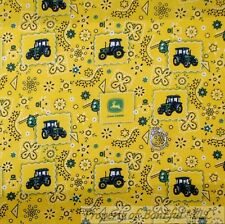 BonEful Fabric FQ Cotton Quilt Yellow Green John Deere Bandana Paisley Cowboy US