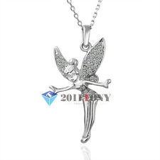 Tinkerbell Pendant  18K White Gold Plated Swarovski Crystal Necklace Jewellery