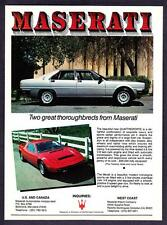 "1981 Maserati Quattroporte Sedan & Merak Coupe photo ""2 Thoroughbreds"" print ad"