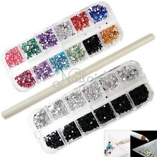6000pcs 2mm Crystal Rhinestones Gems Nail Art 3D Decoration + Picker Pen Pencil
