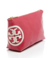NWT TORY BURCH Logo Hot Pink Triangle Cosmetic Pouch Bag Case W/ RECEIPT