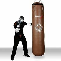 TurnerMAX Genuine Cowhide Leather Boxing Punch Bag Heavy Punch Bag Natural