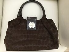 KATE SPADE Dark Brown Patent Leather Suede Large Stachel Bag Tote Purse 2 Handle