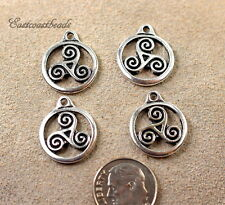 TierraCast, Celtic Small Triskele Charms, Antiqued Silver Plated Pewter, 4 Pcs