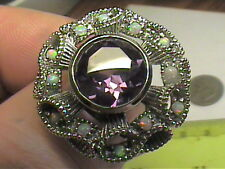 EDWARDIAN Silver RING 6.5 AMETHYST OPAL  FILIGREE VINTAGE  925 STERLING flower