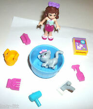 LEGO animal Friends Minifigure CAT blow dryer comb sticker shot shampoo soap lot