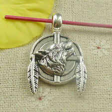Free Ship 24 pieces tibetan silver wolf leaves charms pendant 38x23mm L-4826