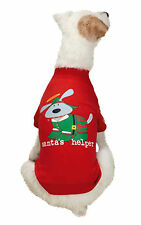 "NEW Size XXS Red ""Santa's Helper"" Dog T-shirt Clothes Pet Dog Is Good"