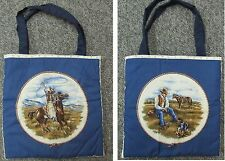 New tote hand purse shoe lunch grocery bag Cowboy horse farm ranch fence