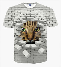 2016 Women Men 3D Print Funny Wall Cat Funny Short Sleeve T-shirt Round Top XL