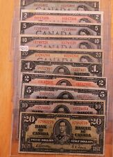 10  -  1937 & 1954  Canadian Bills  -  $1  $2  $5  $10  $20   In Each  Year