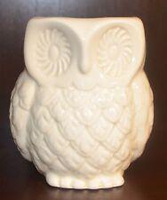 NEW BATH & BODY WORKS WHITE OWL CERAMIC LEAVES CANDLE HOLDER 2 OZ GLASS CUTE