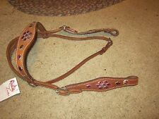 CLEARANCE  Quality made headstall with scallop browband & cheeks. PINK or GREEN