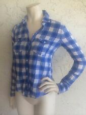 GILLY HICKS Blue Plaid Check Button Front Top Long Sleeve Sz XS