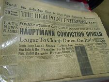 THE HIGH POINT ENTERPRISE (N.C) Newspaper Oct.9,1935 HAUPTMANN CONVICTION UPHELD