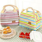 Travel Portable Thermal Insulated Cooler Stripe Picnic Lunch Bag Carry Case Tote