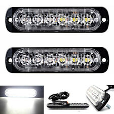 2PCS White 6 LED Strobe Flash Light Warning Hazard Emergency Lamp for Car Truck