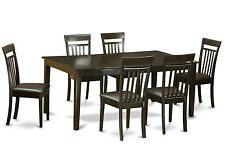 7-PC SET DINETTE DINING TABLE w/ 6 FAUX LEATHER SEAT CHAIRS IN CAPPUCCINO