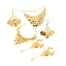 Women Belly Dance Jewelry Set Golden Necklace Palm Ring Bracelet Earrings