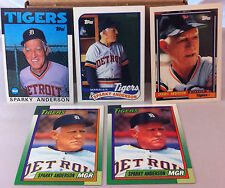 LOT OF (5) SPARKY ANDERSON DETROIT TIGERS MANAGER HOF