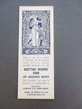 Vintage BOOKMARK Scottish Widows Fund WALTER CRANE Illustration JUNE 1913