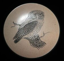 Vintage Purbeck Pottery Large Stoneware Bowl Owl Design Excellent Condition