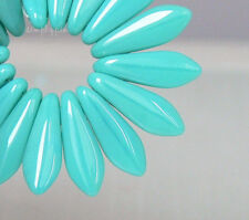 Opaque Turquoise Dagger CzechMates Two Hole Czech Glass Beads 25