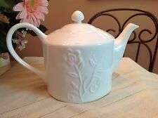 222 Fifth PST International White Bone China Embossed Floral Teapot Tea Pot 4 c