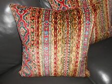 Throw pillows Brunschwig & Fils SAVONNERIE VELVET cut velvet fabric red blue TWO