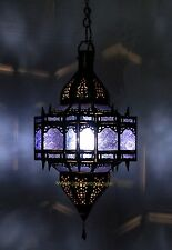 Moroccan handmade ceiling lamp blue stained glass rustic moorish outdoor lantern