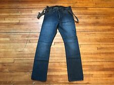 JOHN VARVATOS USA DARK WASHED BLUE DENIM & BROWN SUSPENDERS JEANS S 30 RG COOL