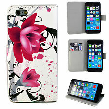 Leather Flip Wallet Rubber Soft Cover Case Pouch For Apple iPhone Mobile Phone