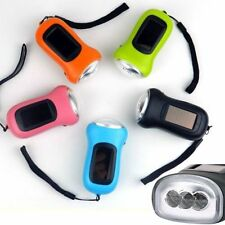 3 LED Hand Crank Dynamo Solar Powered Flashlight Torch Outdoor Portable