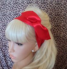 RED SATIN BENDY WIRED HAIR WRAP WIRE BOW HEAD BAND 50s 40s VINTAGE RETRO STYLE