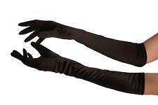 Black Stretchy Satin Wedding Opera Gloves (GL003226)