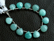 Natural Blue Amazonite Faceted Heart Briolette Semi Precious Gemstone Beads
