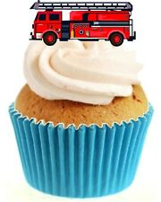 Novelty Fire Engine 12 Edible Stand Up wafer paper cake toppers birthday
