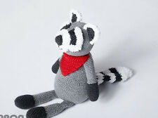 CROCHET PATTERN - ADORABLE LITTLE CHARACTER ROCKY THE RACCOON SOFT TOY