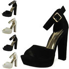 NEW WOMENS LADIES ANKLE STRAP PEEPTOE PLATFORM BLOCK HIGH HEEL SHOE SANDALS SIZE