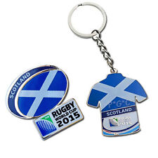 Rugby World Cup 2015 Scotland Flag Pin and Key Ring Set