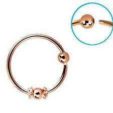 "Rose Gold Plated Sterling Silver Nose Ring Hoop 5/16"" Ball Wire 22 Gauge 22G"