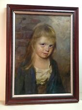 Original Oil On Canvas Painting Crying Girl Giovanni Bragolin Rare 19x27 Inches