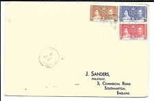 ANTIGUA 1937 CORONATION SET ON FIRST DAY COVER, TO ENGLAND
