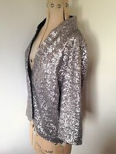 "Ladies Silver Sequin Jacket Size Large Bust 46"" (Original Price £40)"