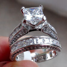 Princess White Sapphire Topaz Cz Gold Plated Wedding Band Engagement Ring Sets 7