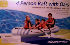 CLEARWATER 4 PERSON/MAN RAFT+OAR SET+PUMP~INFLATABLE~FLOAT BOAT~POOL RIVER LAKE