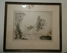 019 Rare Signed, Framed, 1929 Aviation Etching John MacGilchrist Airplane
