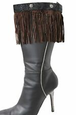 New Women Brown Boots Topper Faux Suede Leather Fringes Winter Flower Charm Pair